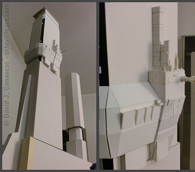 Two views. Similar angles as in the September 3rd picture, but only some of the basic structures are present, with very little fine detail present. Some of the upper structures of medium-level detail are not yet in place.