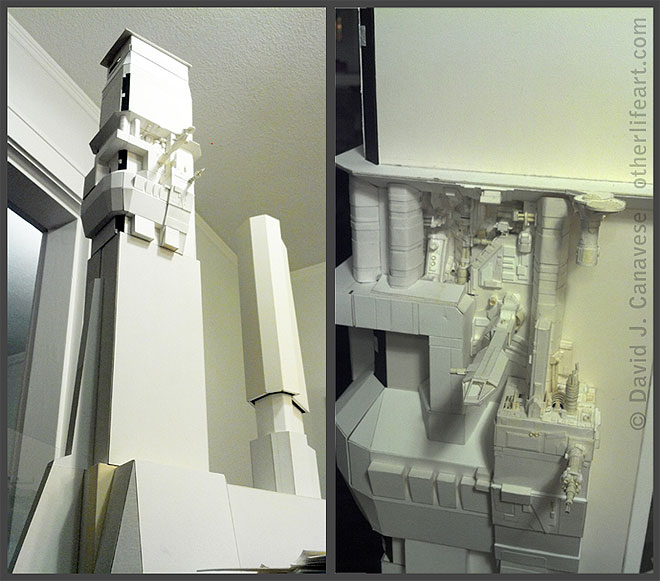 Two views. At left: the overall structure, showing two towers. The midsection of the left tower is detailed, and the rest is undetailed. At right: a close-up of the detailed area, showing protruding docking ports, mechanical parts, and a small landing pad.