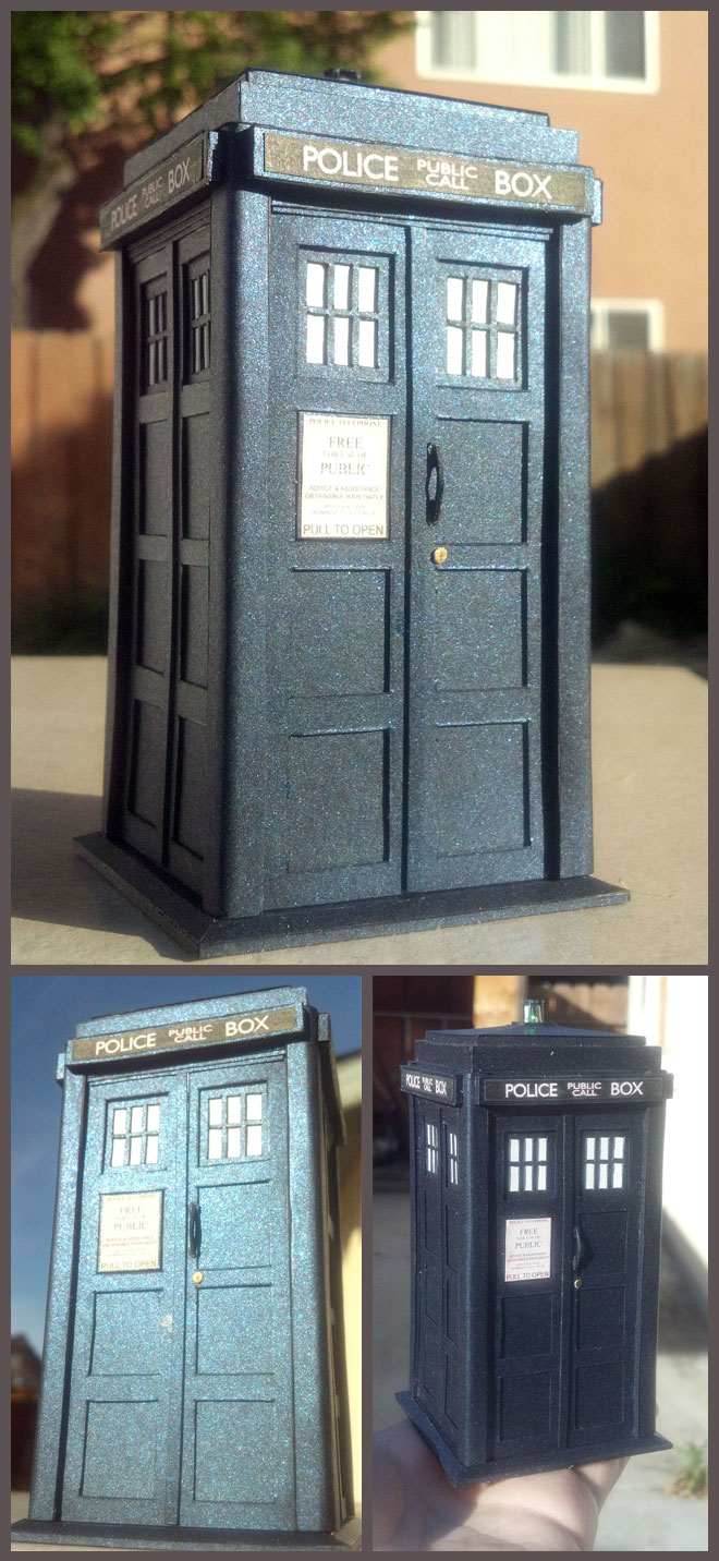 Three views of a paper TARDIS from Doctor Who. It's a blue British police box with small frosted windows and a light on top.